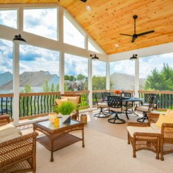 Large sunroom with one wall that is all windows