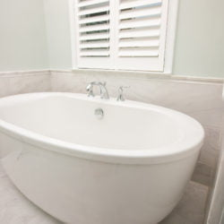 standing tub in new bathroom