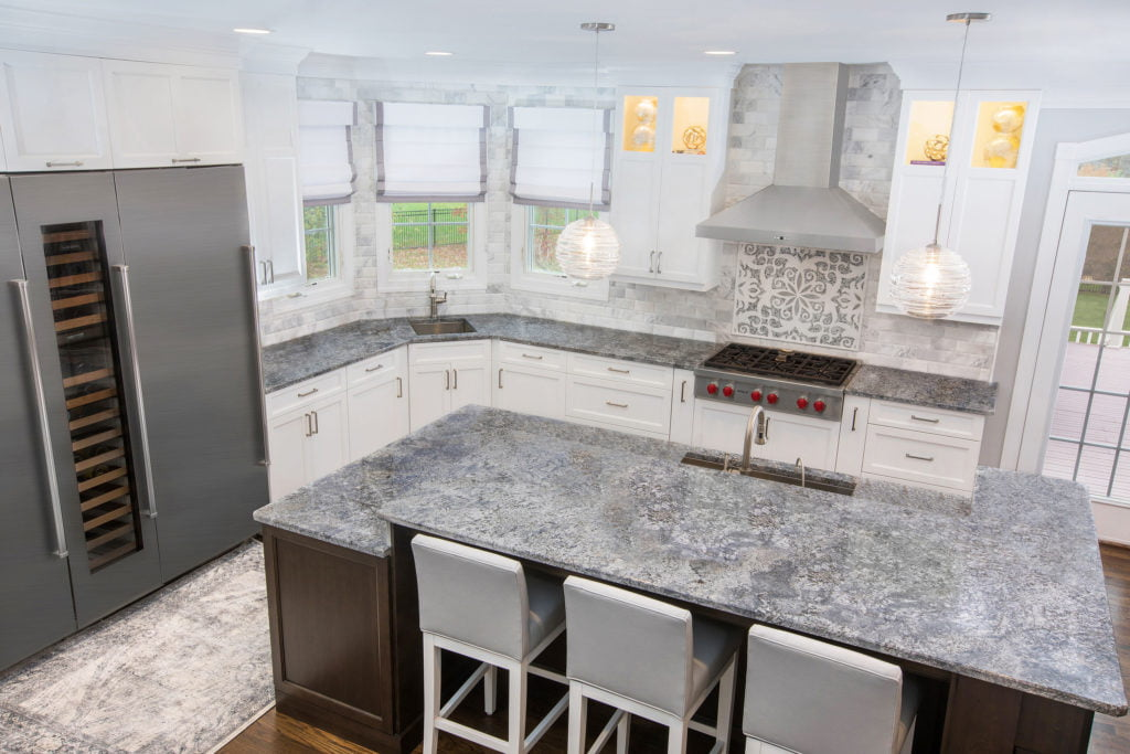 kitchen remodel with custom shelving and a kitchen island