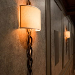 Custom lighting fixture in a newly remodeled basement