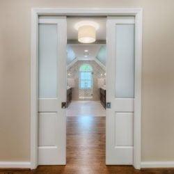 Sliding doors in a new bathroom remodel