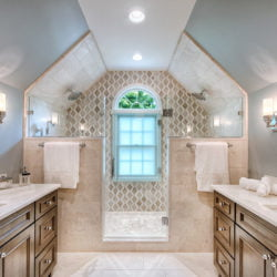 new bathroom remodel that is a specialty project for seniors aging in place. Easy mobility and walk in shower.