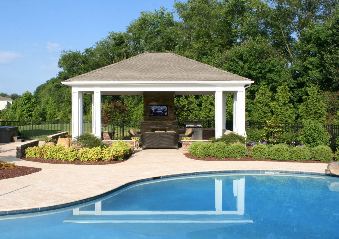 outdoor patio pergola near the pool