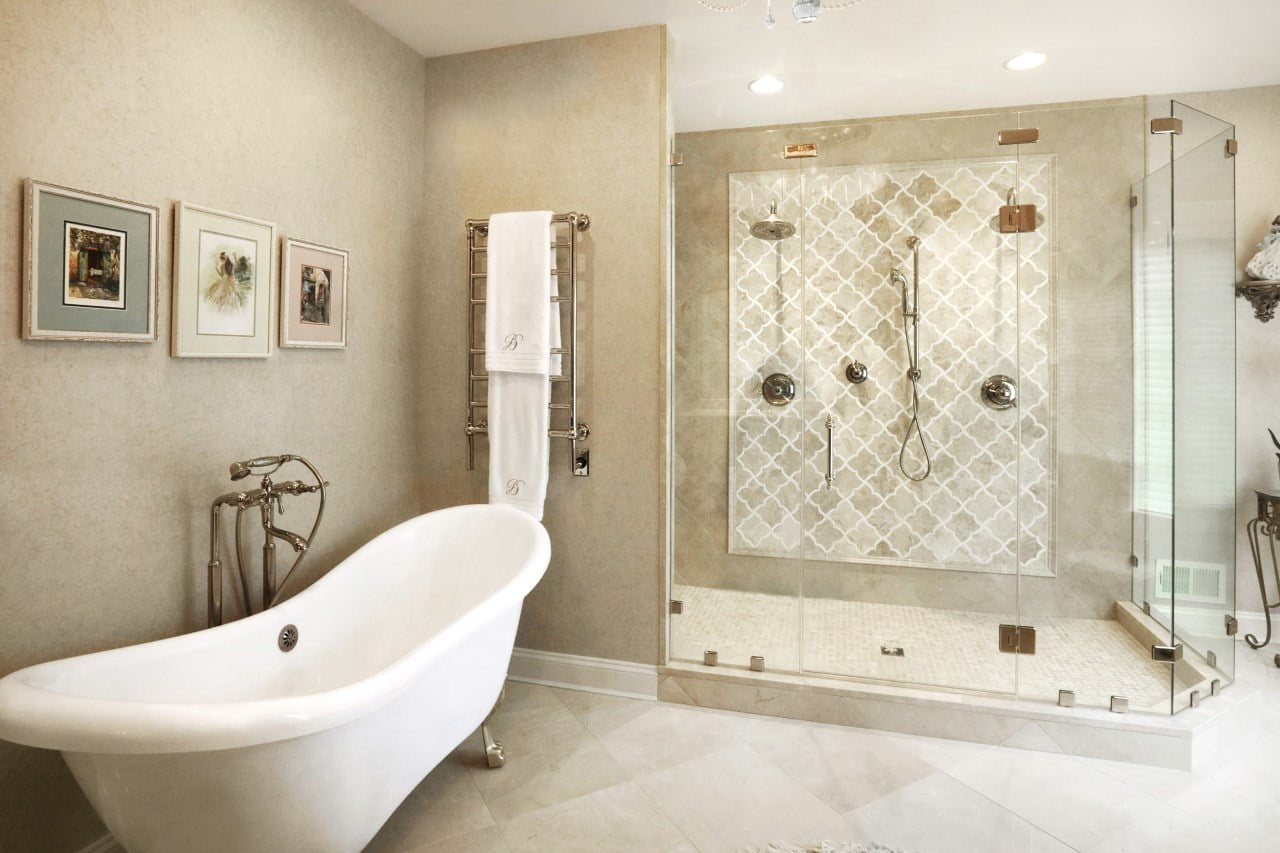 new kitchen remodel with clawfoot bathtub and walk in shower